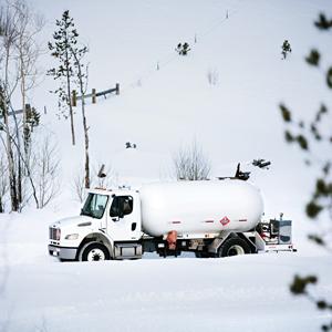 propane bobtail truck in snow